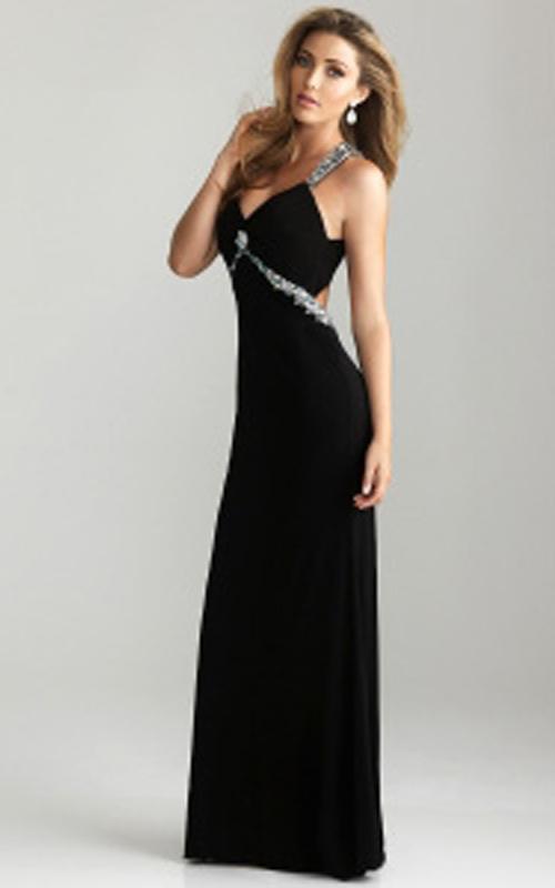 Fashion , 10 Sexy Long Black Dress : Sexy Black Long Prom Dress By Night Moves 6614 | StyleCaster