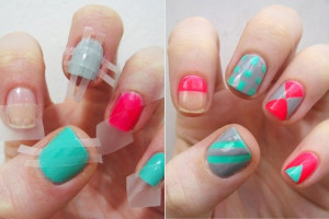 Nail , 6 Scotch Tape Nail Designs : Amazing Scotch Tape Nail Art Designs