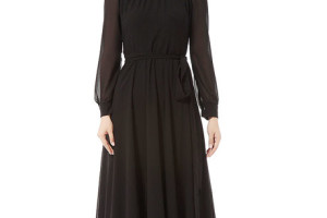 Fashion , 7 Long Black Turtleneck Dress : Black Chiffon Turtleneck Long Sleeve Maxi Dress