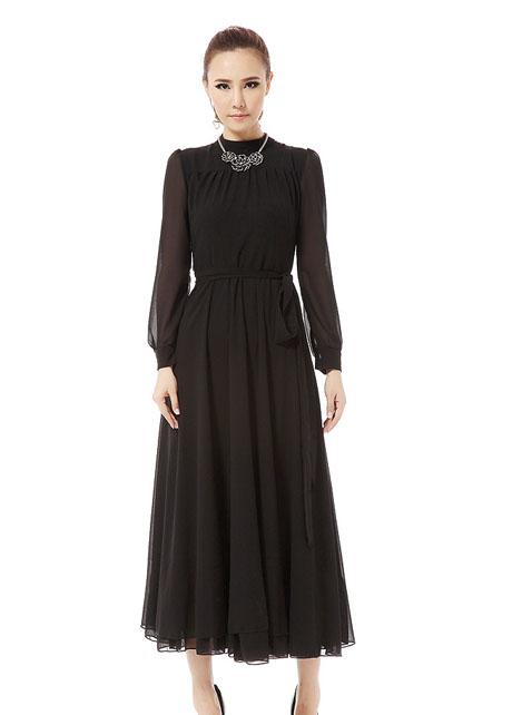 Fashion , 7 Long Black Turtleneck Dress : Black Chiffon Turtleneck Long Sleeve Maxi Dress