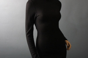Fashion , 7 Long Black Turtleneck Dress : Black Knit Turtleneck Long Sleeve dress