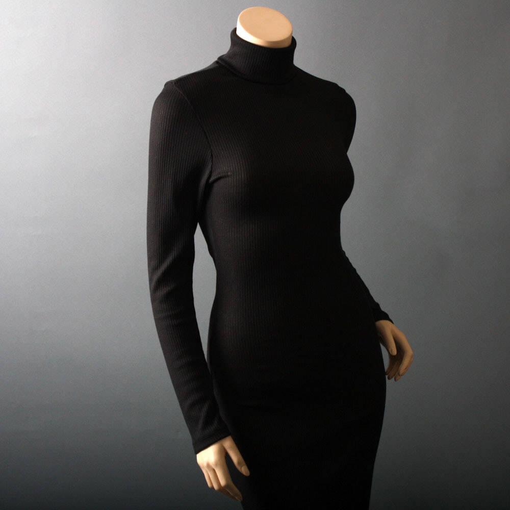Fashion , 7 Long Black Turtleneck Dress : Black Knit Turtleneck Long Sleeve Dress