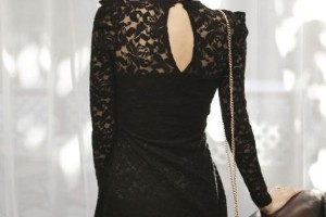 Fashion , 7 Long Black Turtleneck Dress : Black Lace Long Sleeves Turtleneck Korean Dress
