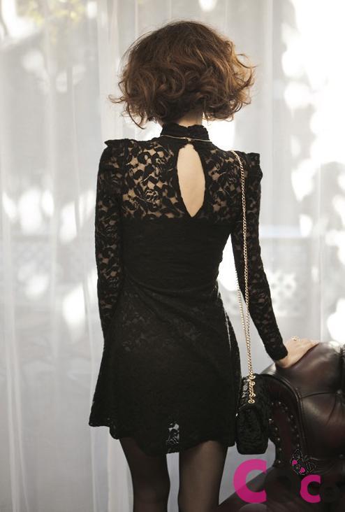 Fashion , 7 Long Black Turtleneck Dress : Black Lace Long Sleeves Turtleneck Korean Dress