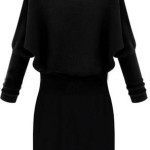Black Long Sleeve Contrast Lapel Sweater Dress , 10 Long Sleeve Black Sweater Dress In Fashion Category