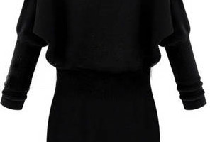 Fashion , 10 Long Sleeve Black Sweater Dress : Black Long Sleeve Contrast Lapel Sweater Dress
