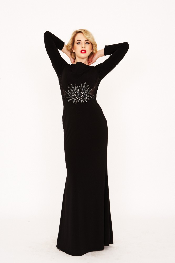 Fashion , 6 Black And White Long Sleeve Dress : Black Long Sleeve Embellished Dress