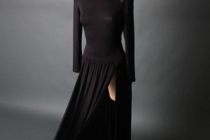 Fashion , 7 Long Black Turtleneck Dress : Black Sexy Turtleneck Thigh Long Maxi Dress