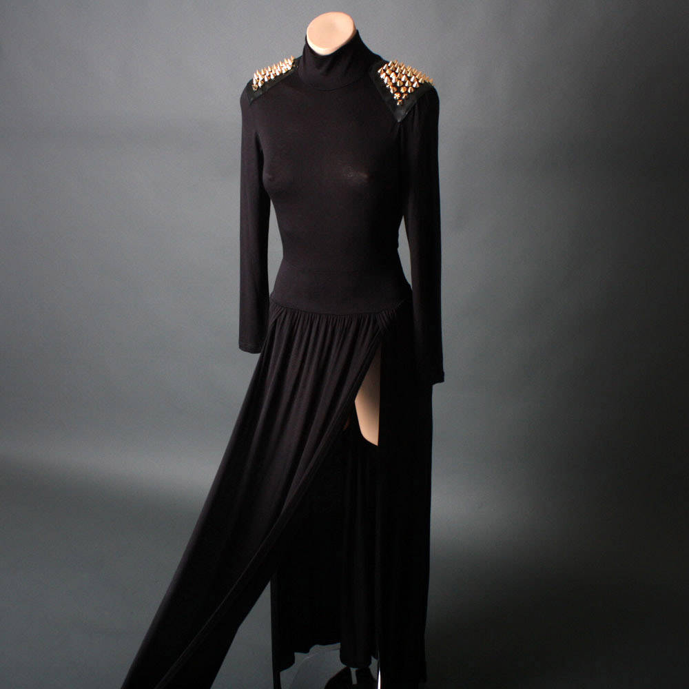 7 Long Black Turtleneck Dress in Fashion