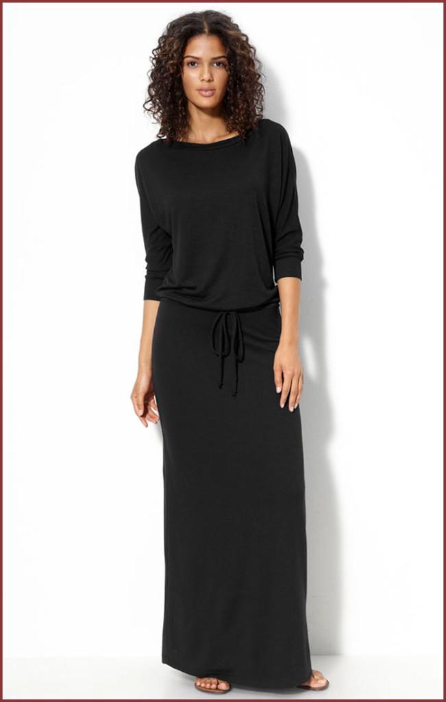 Fashion , 9 Casual Long Black Dress : Casual Knitted Black Long Dress
