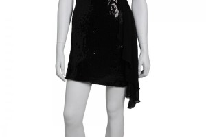Fashion , 7 Little Black Sequin Dress : Chiffon Sash Sequin Dress