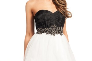 Fashion , 10 Little Black And White Dress : Little Mistress Black And White Embellished Chiffon Organza Prom Dress