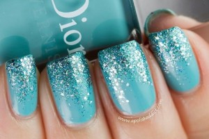 Nail , 6 Turquoise Nail Designs : Color Turquoise sparkle gradient nail color