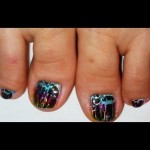Crackle Rainbow Toe Nail Art , 7 Crackle Toe Nail Designs In Nail Category