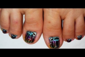 Nail , 7 Crackle Toe Nail Designs : Crackle Rainbow Toe Nail Art