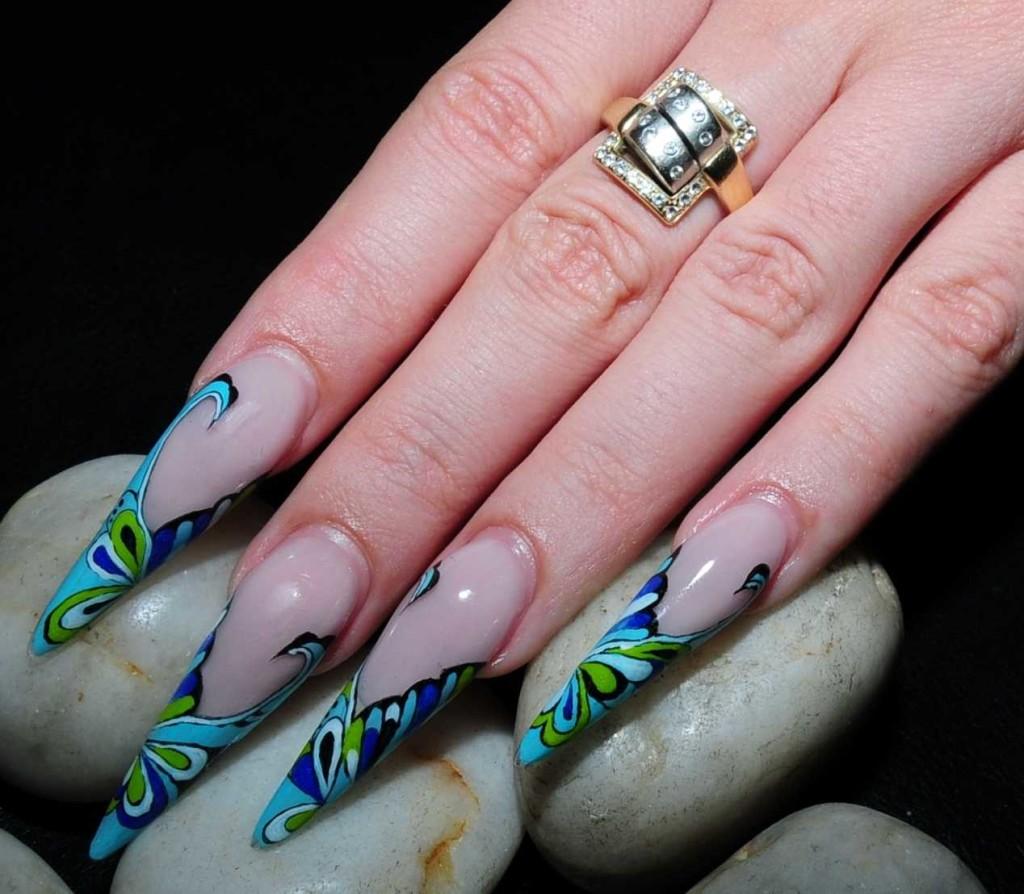Nail , 6 Stiletto Nail Designs : Crystal Stiletto Nails Designs