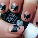 Girly bow & spots nail design , 7 Bow Nail Designs In Nail Category