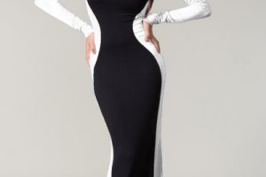Fashion , 6 Black And White Long Sleeve Dress : Glam Rock Black & White Couture Long Sleeve Maxi Dress