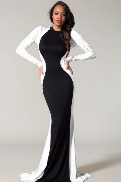 black and white long sleeve dress Li1p8VXO