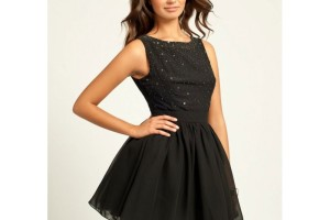 Fashion , 10 Little Black Homecoming Dresses : Little Mistress Black Embellished Prom Dress