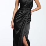 Long Black One Shoulder Taffeta Dress , 9 Pictures Of One Shoulder Long Black Dress In Fashion Category