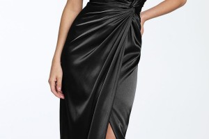 Fashion , 9 Pictures Of One Shoulder Long Black Dress : Long Black One Shoulder Taffeta Dress
