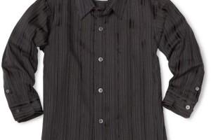 Fashion , 5 Boys Long Sleeve Black Dress Shirt : Long Sleeve Woven Dress Shirt in Black