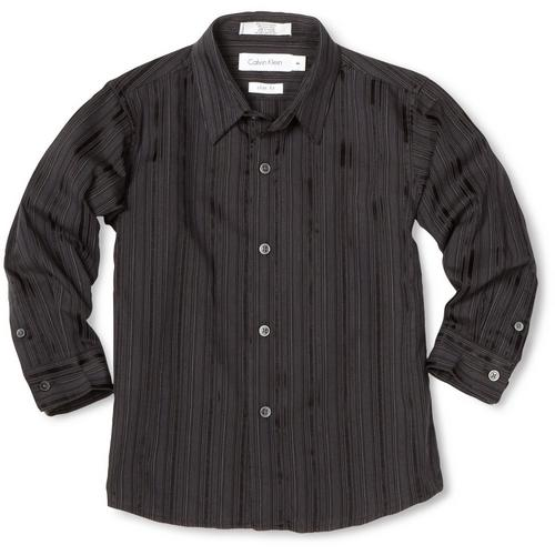 5 Boys Long Sleeve Black Dress Shirt in Fashion