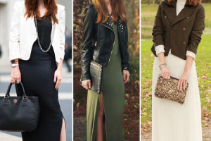 Fashion , 6 Trick How To Wear A Long Black Maxi Dress : Maxi Dresses Layered with jackets