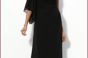 Fashion , 9 Pictures Of One Shoulder Long Black Dress :  One Shoulder Chiffon Black Long Dress