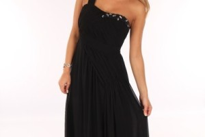 Fashion , 9 Pictures Of One Shoulder Long Black Dress : One Shoulder Grecian Dress
