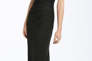 Fashion , 9 Pictures Of One Shoulder Long Black Dress : One Shoulder Satin Evening Dress