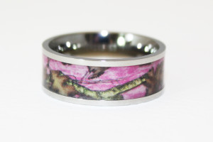 Wedding , Pink Camo Wedding Rings : Pink Camo Wedding Rings for her