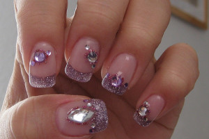 Nail , 5 Nail Designs With Diamonds : Purple Diamond Nail Art
