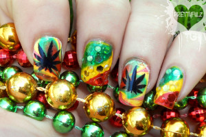 Hair Style , 6 Rasta Nail Designs : Rasta Deco Nail Art Design