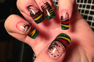 Hair Style , 6 Rasta Nail Designs : Rasta Nails with design