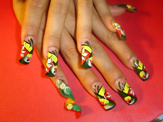Rasta Nails With Spiral Woman Fashion Nice