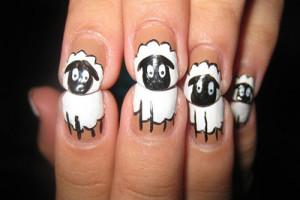 Nail , 7 Cartoon Nail Designs : Shaun the sheep nail art designs