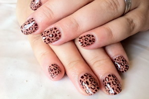 Nail , Shellac Nail Design Ideas : Shellac Iced Cappuccino Leopard Print Nail Designs Ideas
