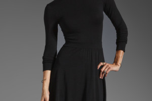Fashion , 7 Long Black Turtleneck Dress : Splendid Long Sleeve Turtleneck Dress