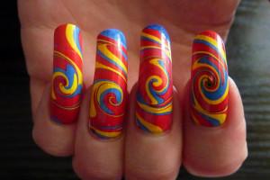 Nail , 6 Swirl Nail Designs : Summer Swirl Water Marble Nail Art