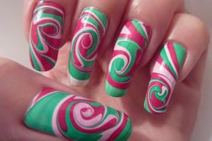 Nail , 6 Swirl Nail Designs : Swirl Spiral Water Marble Nail Art