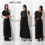 Wear A Maxi Dress with a belt , 6 Trick How To Wear A Long Black Maxi Dress In Fashion Category