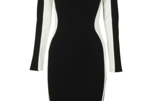 Fashion , 6 Black And White Long Sleeve Dress : White Panelled Black Long Sleeve Dress