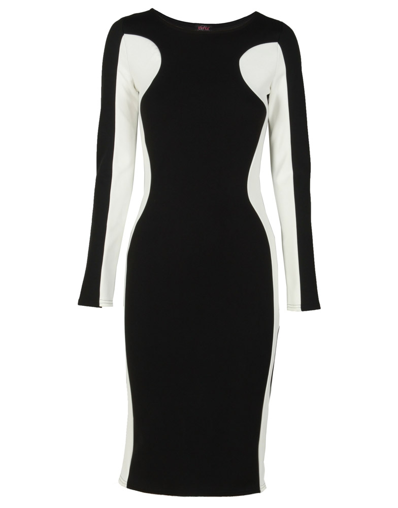 6 Black And White Long Sleeve Dress in Fashion