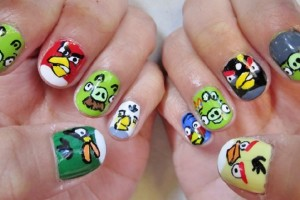 Nail , 7 Cartoon Nail Designs : angry birds nail art designs