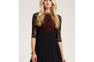 Fashion , 7 Long Sleeve Black Skater Dress : becca long sleeve lace skater dress