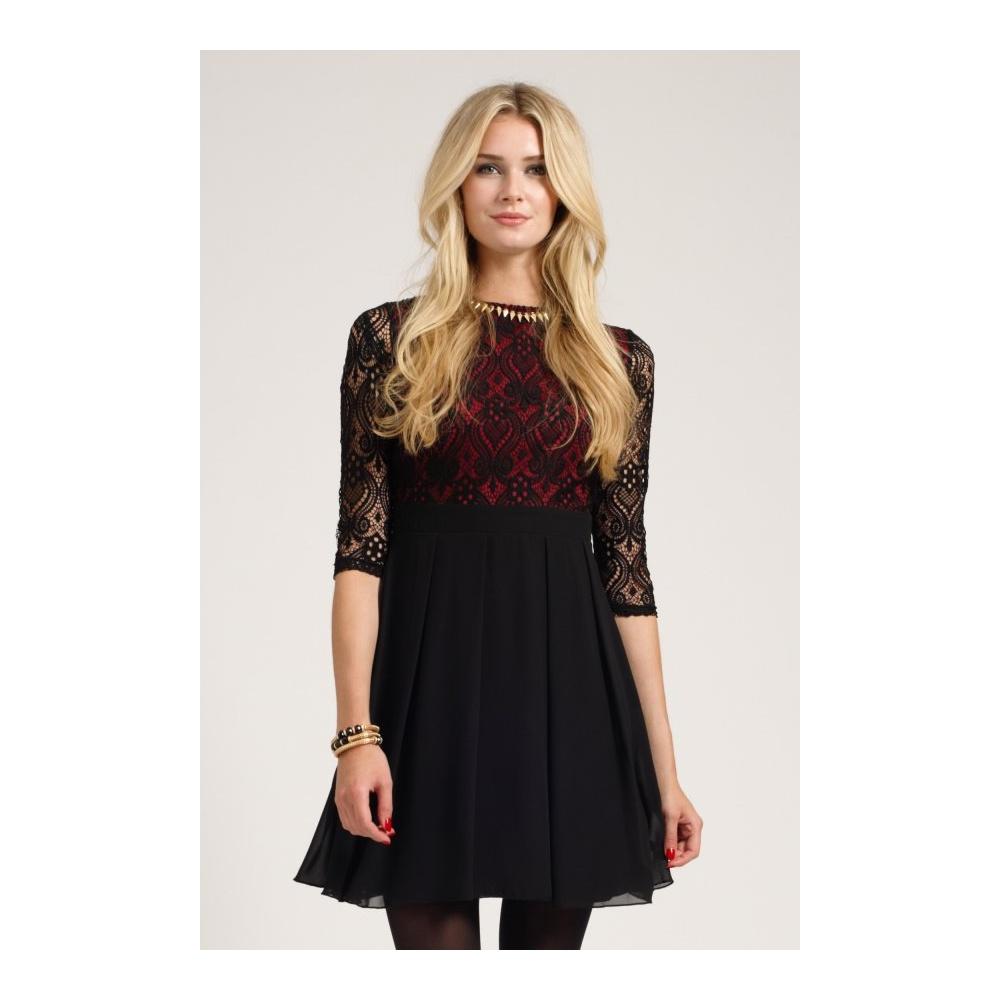 Fashion , 7 Long Sleeve Black Skater Dress : Becca Long Sleeve Lace Skater Dress
