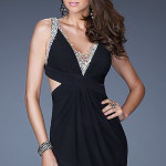 black open back v neck homecoming dress , 10 Little Black Homecoming Dresses In Fashion Category