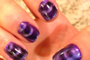 Nail , 8 Magnetic Nail Polish Designs : black purple magnetic nail polish